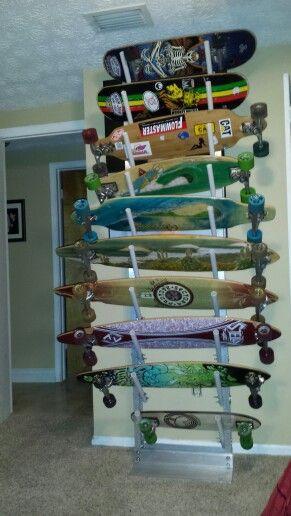 Skateboard Rack DIY  Skateboard rack Skateboard and Homemade on Pinterest