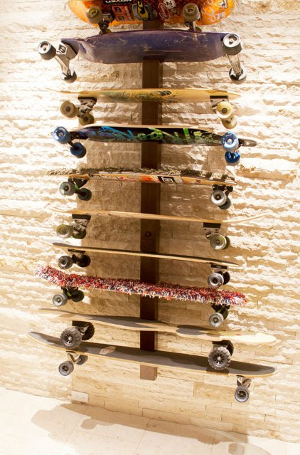 Skateboard Rack DIY  Basement of the Week For the Love of Sports and Games