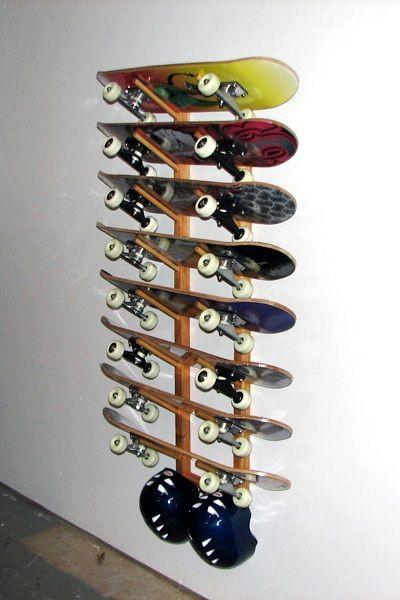 Skateboard Rack DIY  Eight 8 Skateboard Wall Rack