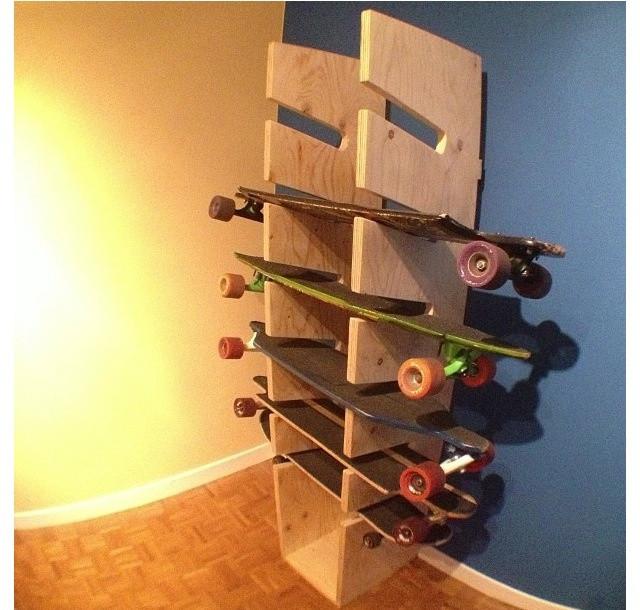 Skateboard Rack DIY  22 best skate board racks images on Pinterest