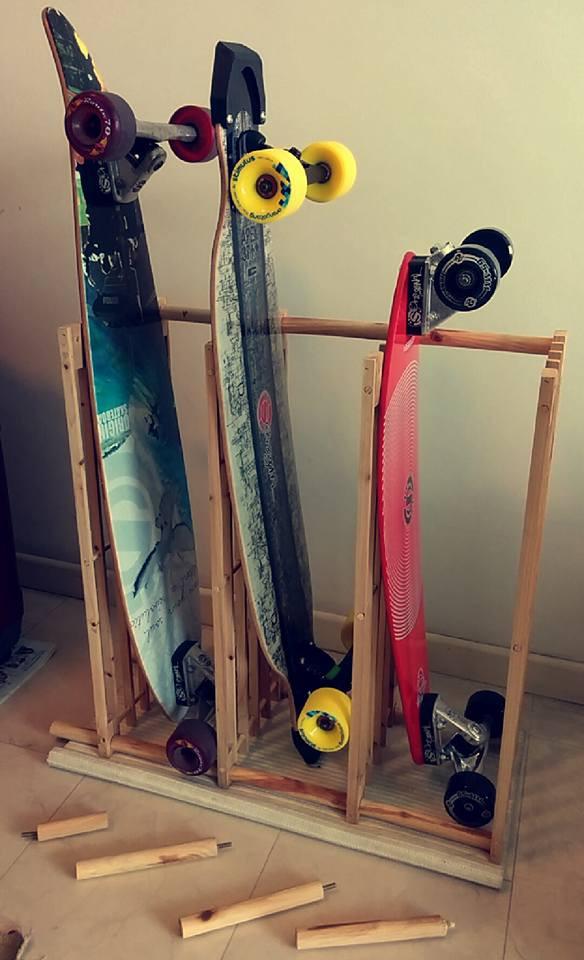 Skateboard Rack DIY  The £6 Skateboard Longboard Rack IKEA Hackers