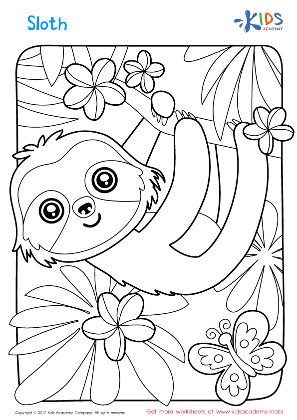 Sloth Coloring Sheets For Boys  Sloth Coloring Page Coloring Pages for Kids