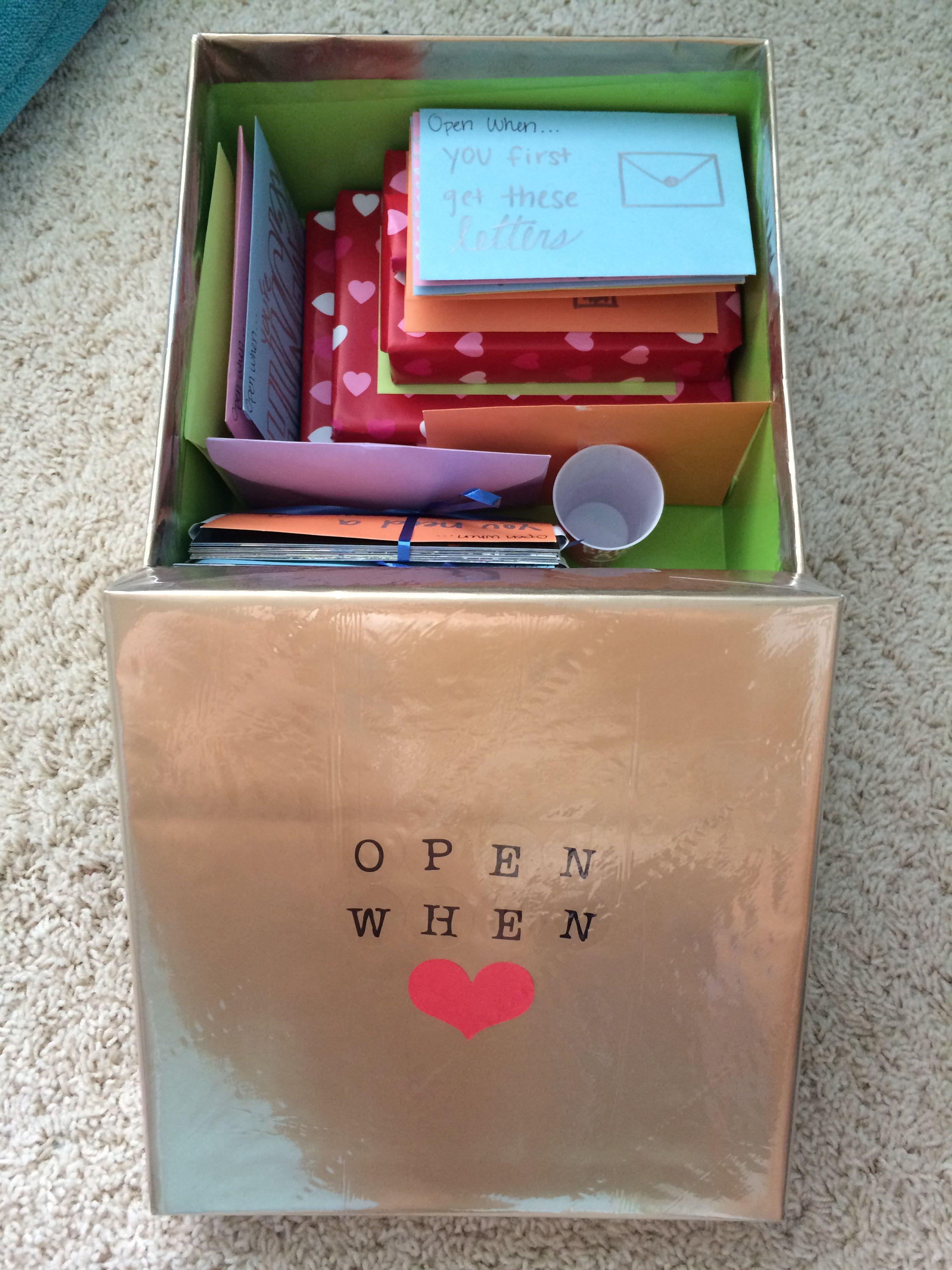 Small Gift Ideas For Boyfriend  Open when letters box with small presents Very cute idea
