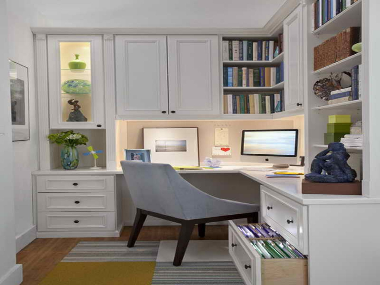 Best ideas about Small Office Space Design . Save or Pin Cabinets for small spaces home office design examples Now.