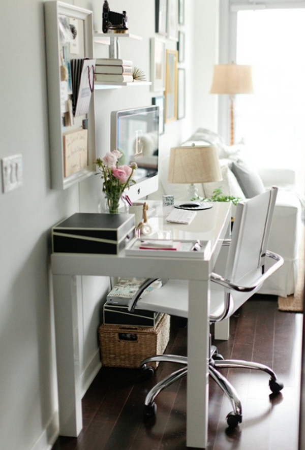 Best ideas about Small Office Space Ideas . Save or Pin 28 White Small Home fice Ideas Now.