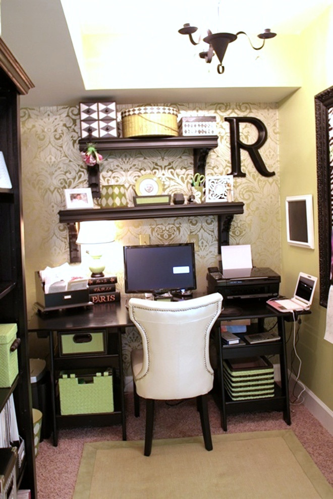 Best ideas about Small Office Space Ideas . Save or Pin Wallpapered fice Nook Southern Hospitality Now.