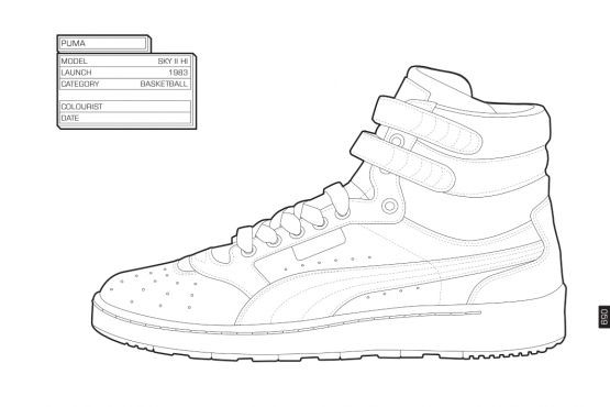 Sneaker Coloring Book  Adidas High Tops Free Coloring Pages