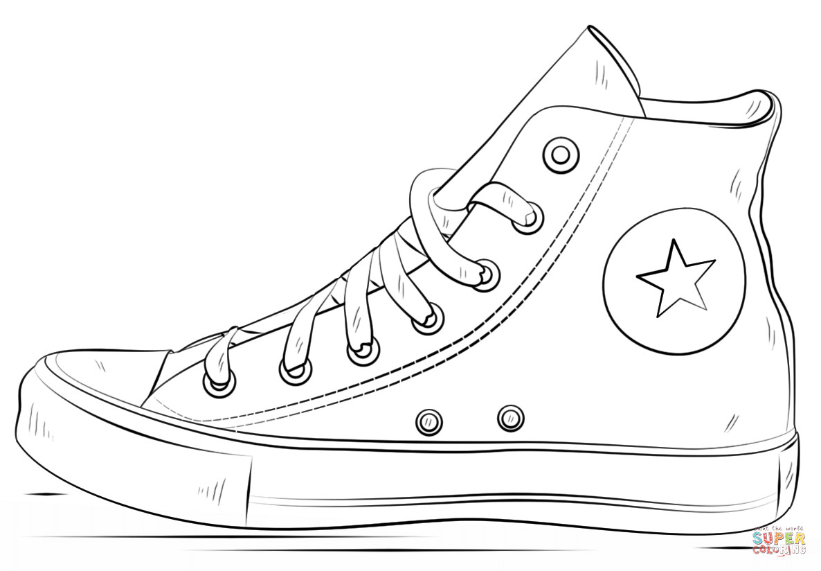Sneaker Coloring Book  Converse Shoes coloring page