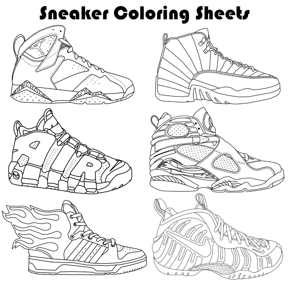 Sneaker Coloring Book  Sneaker Coloring Pages by PaulBova on Etsy