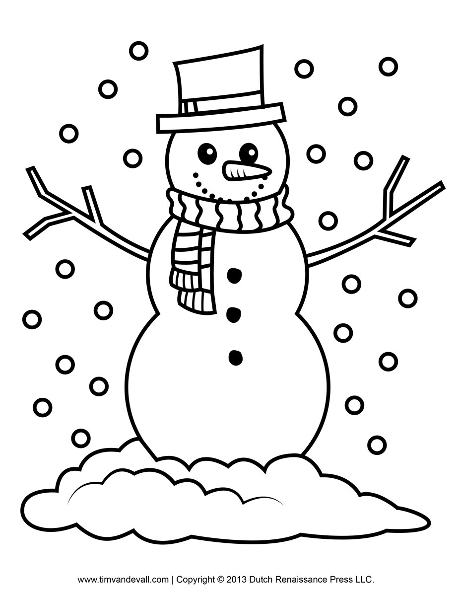 Snowman Coloring Sheet  Free snowman clipart template & printable coloring pages