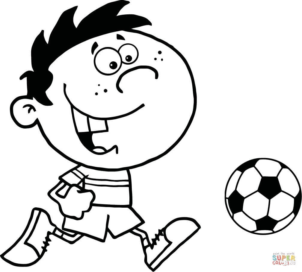 Soccer Coloring Pages For Boys  Soccer Boy with Ball coloring page