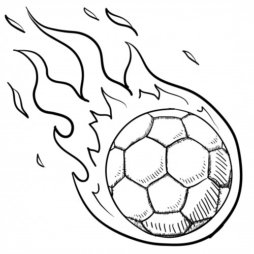 Soccer Coloring Pages For Kids  Soccer Ball In Flames For Kids KidsPressMagazine