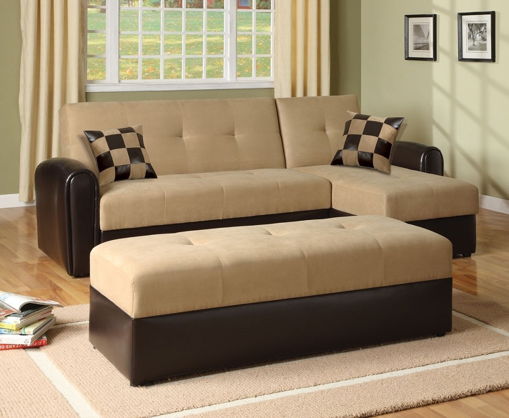 Best ideas about Sofa Bed Sectional . Save or Pin Sofa Mocha Microfiber Sectional Storage Sofa Bed Chaise Now.