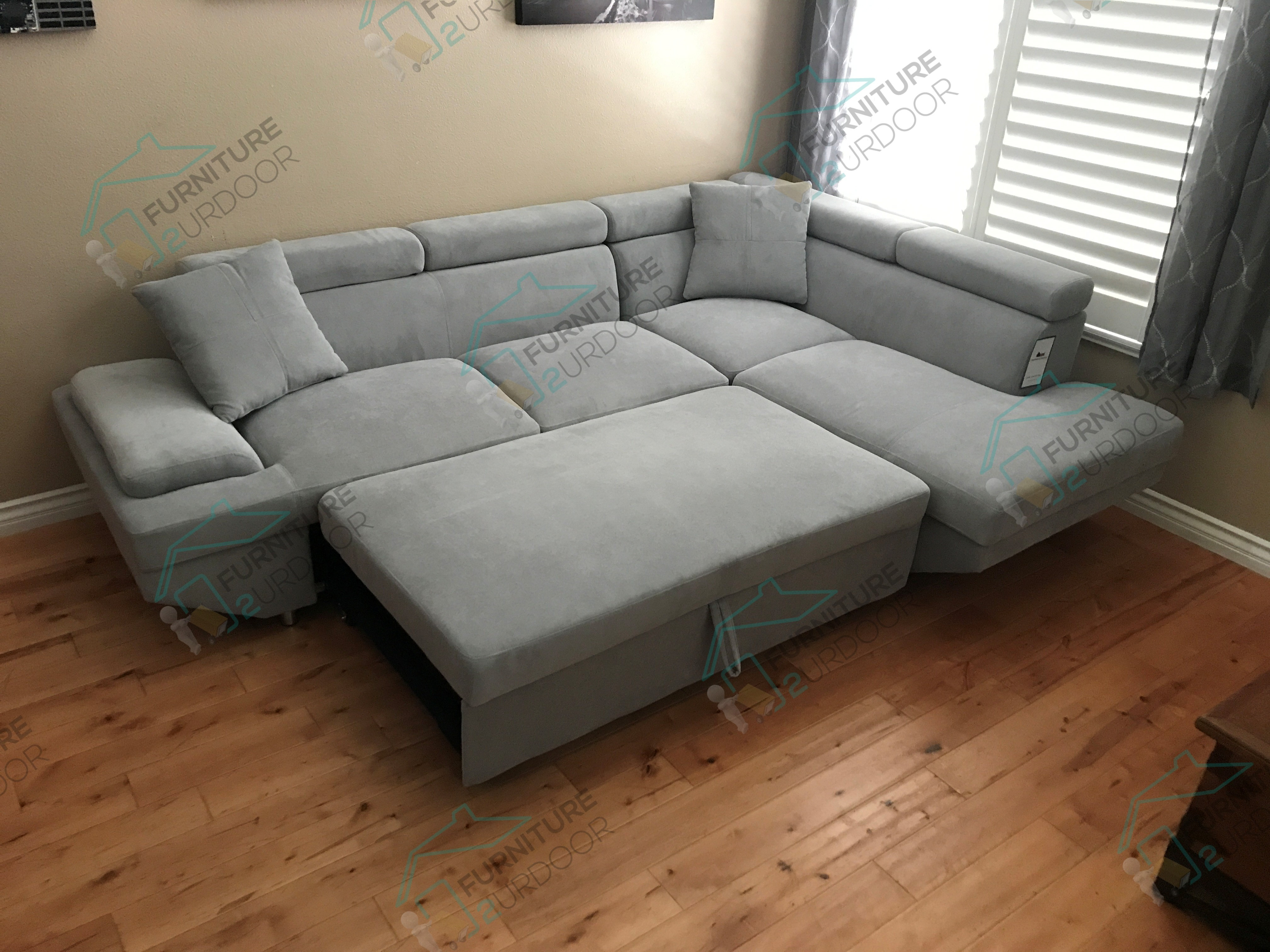 Best ideas about Sofa Bed Sectional . Save or Pin Foreman Contemporary Style Gray Flannelette Fabric Pull Now.