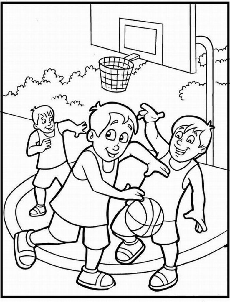 Sports Coloring Pages For Kids  Free Printable Coloring Sheet Basketball Sport For Kids
