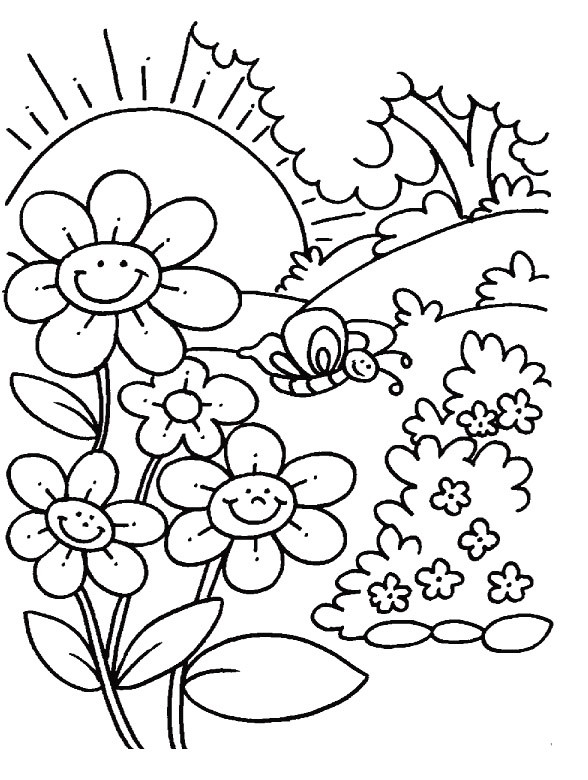 Spring Coloring Pages Free Printable  Spring Coloring Pages Free Printable