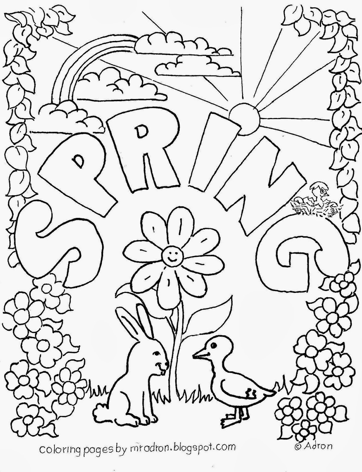 Spring Coloring Pages Free Printable  Cool Eabdcffeccd From Spring Coloring Pages on with HD