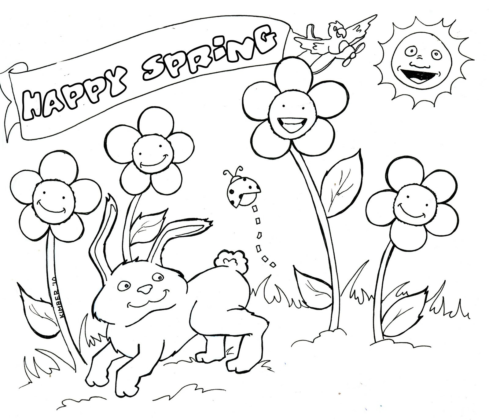 Spring Coloring Pages Free Printable  Spring Coloring Pages Free