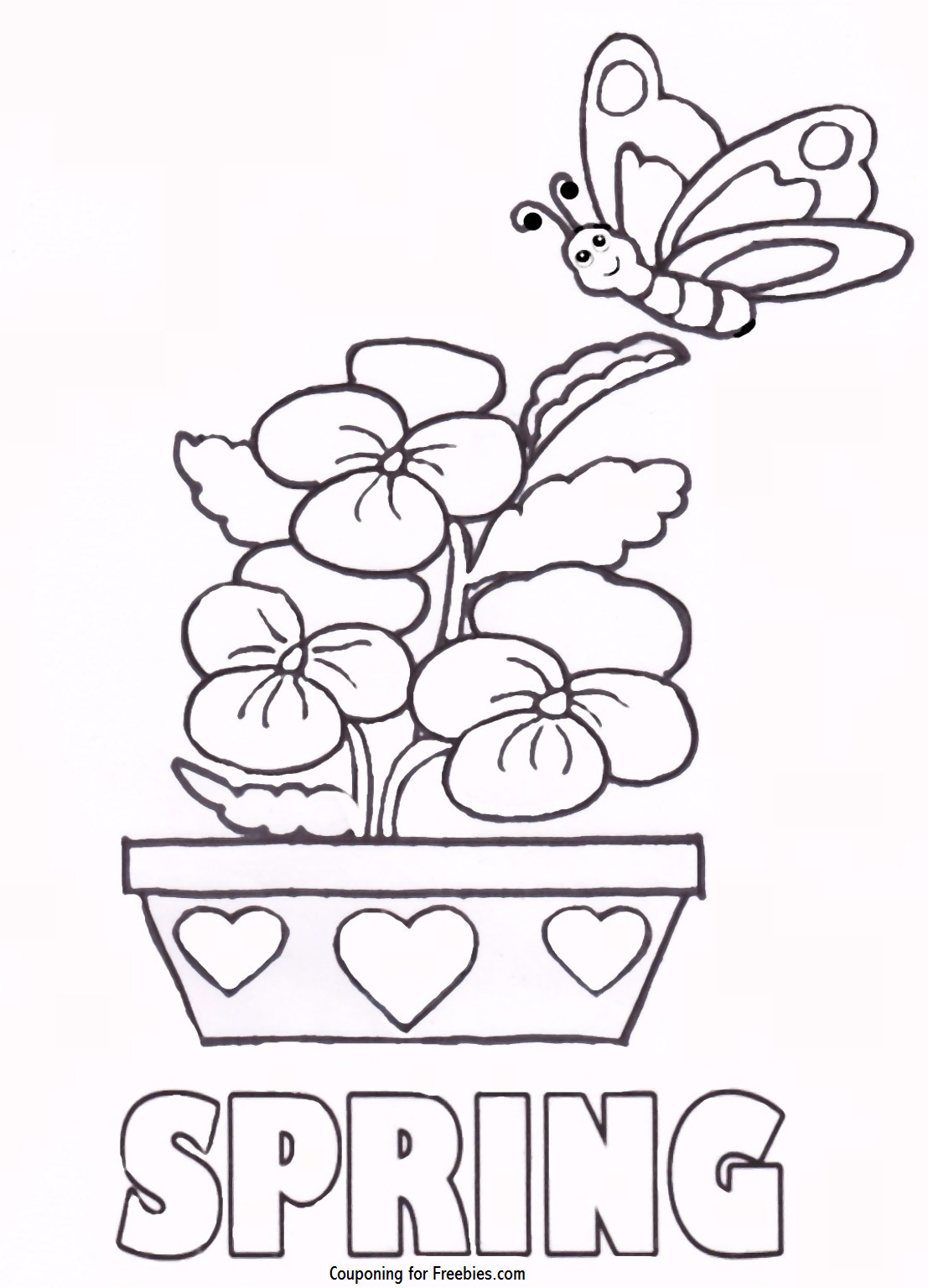 Spring Coloring Pages Free Printable  FREE Printable Coloring Page With Spring Theme FREE For