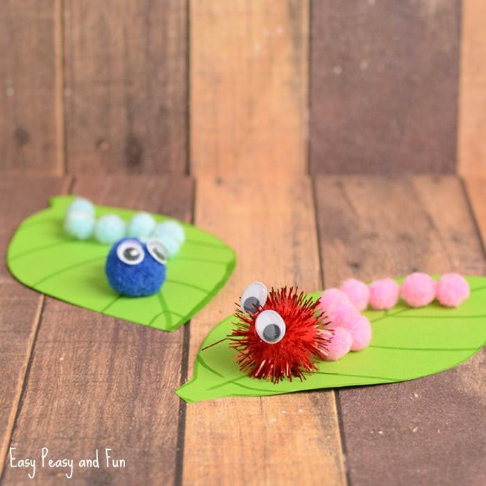 Spring Craft For Preschoolers  Caterpillar Pom Pom Craft Spring Craft Ideas Easy