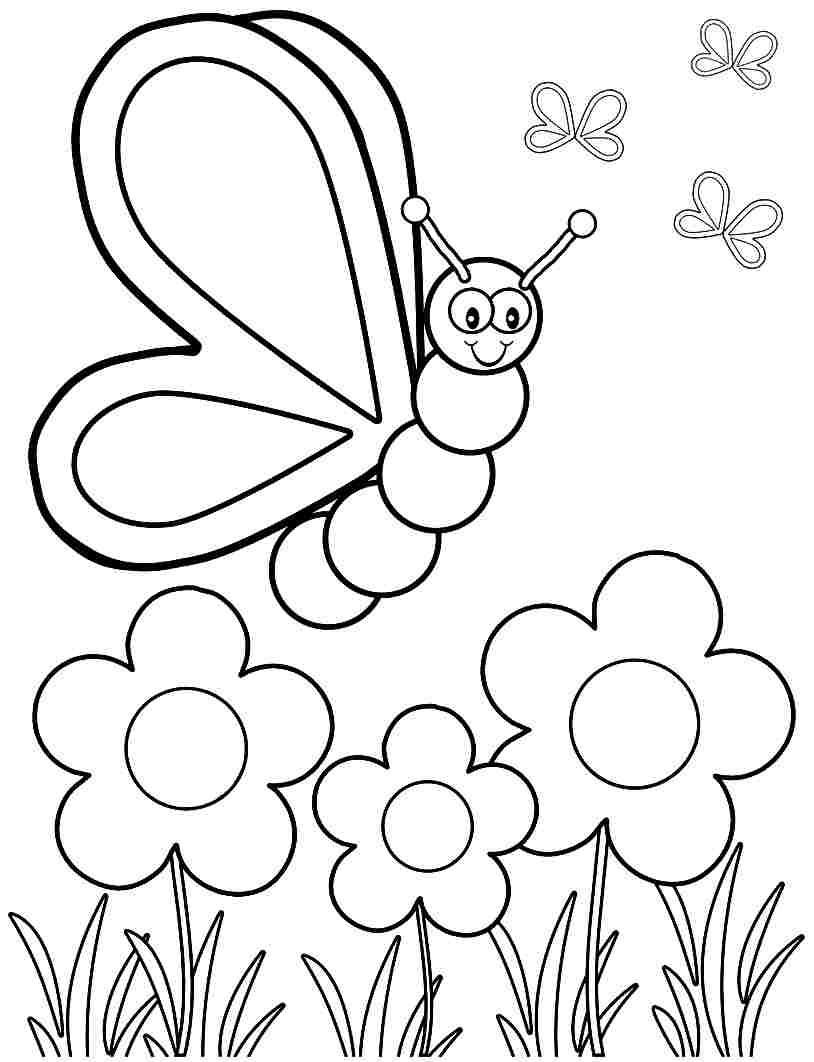 Spring Fling Coloring Sheets For Kids  Spring Flower Coloring Sheets For Kids The Color Panda