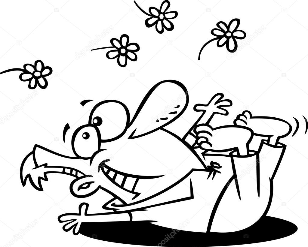 Spring Fling Coloring Sheets For Kids  Vector of a Cartoon Spring Fling Man Playing in Flowers