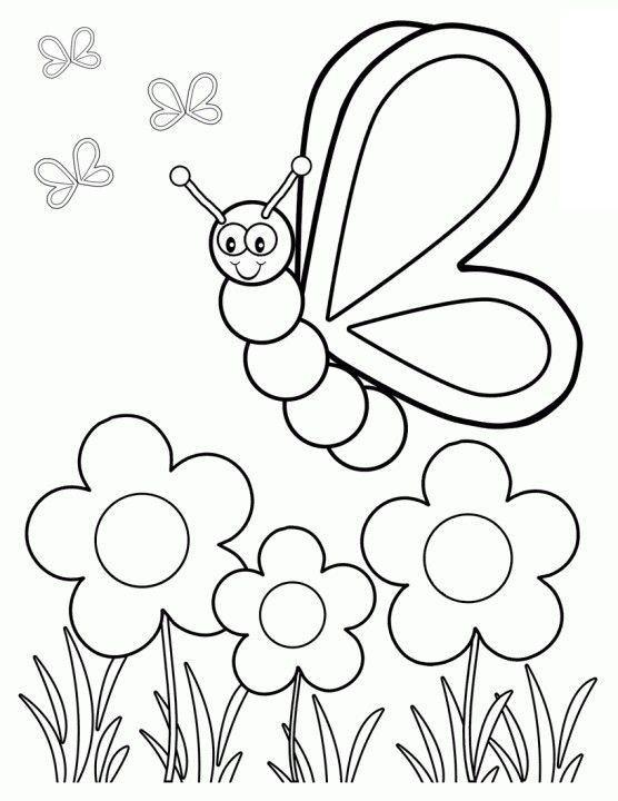 Spring Fling Coloring Sheets For Kids  Easy Spring Coloring Pages For Kids – Color Bros