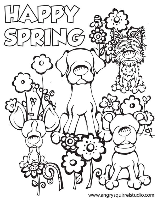 Spring Fling Coloring Sheets For Kids  Spring Coloring Pages HAPPY SPRING Free Printable Coloring