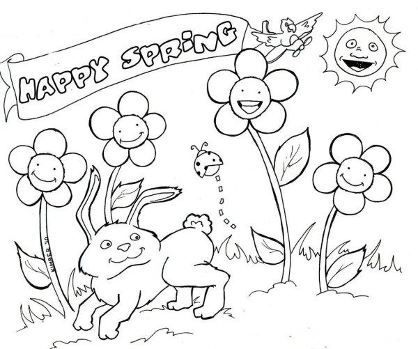 Spring Fling Coloring Sheets For Kids  Happy Spring Coloring Pages For Kids Bunny Coloring