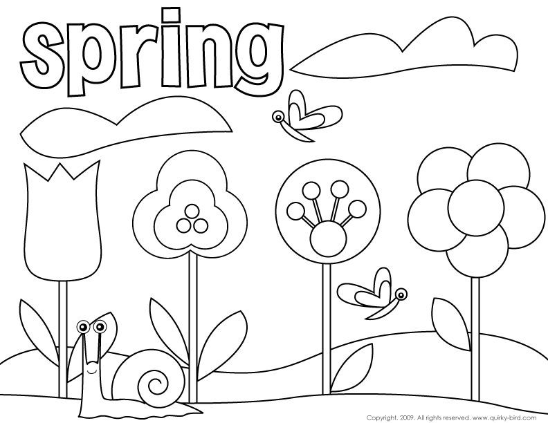 Spring Fling Coloring Sheets For Kids  spring birds and flowers coloring pages