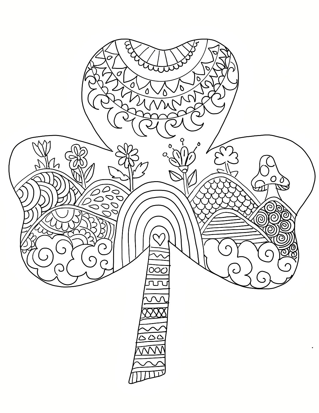 St Patrick'S Day Coloring Sheet  Cool Shamrock Mandala Coloring Page Coloring Pages – Free