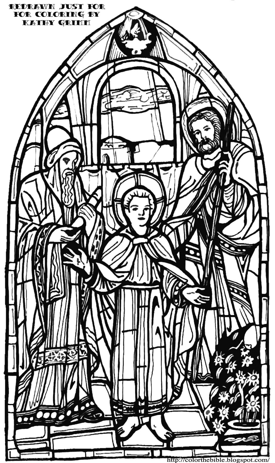 Stain Glass Coloring Pages For Boys  Jesus in the Temple