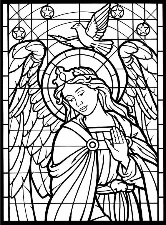 Stain Glass Coloring Pages For Boys  Stained glass coloring pages angel and dove ColoringStar