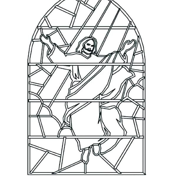 Stain Glass Coloring Pages For Boys  Stained glass window colouring colouring cards easter