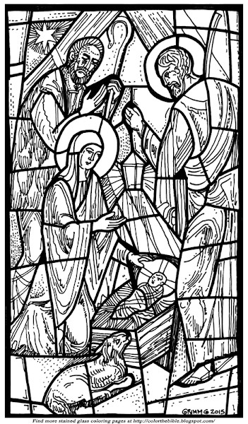 Stain Glass Coloring Pages For Boys  Christmas Nativity Stained Glass Coloring Pages