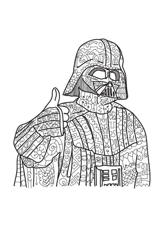 Star Wars Printable Coloring Pages Kids And Adults  Darth Vader Star Wars coloring page Adult coloring by
