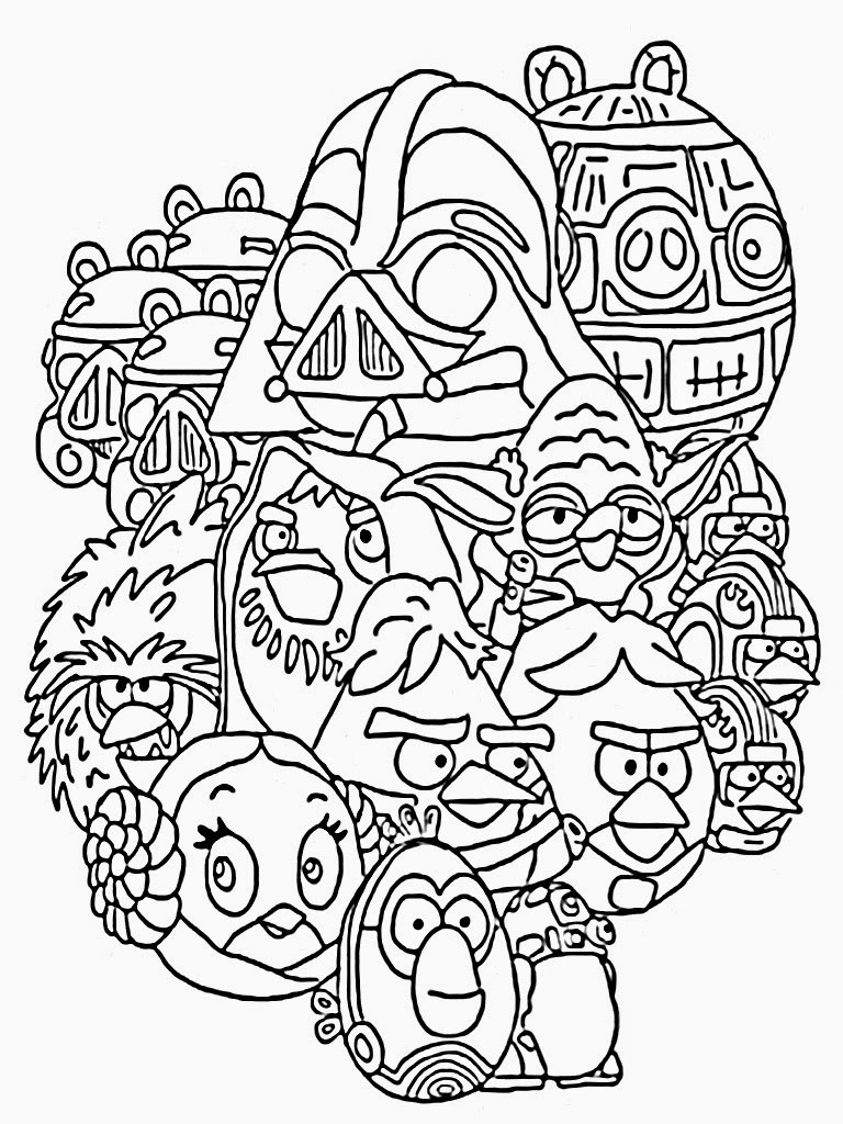 Star Wars Printable Coloring Pages Kids And Adults  Angry Birds Star Wars Coloring Pages Printable