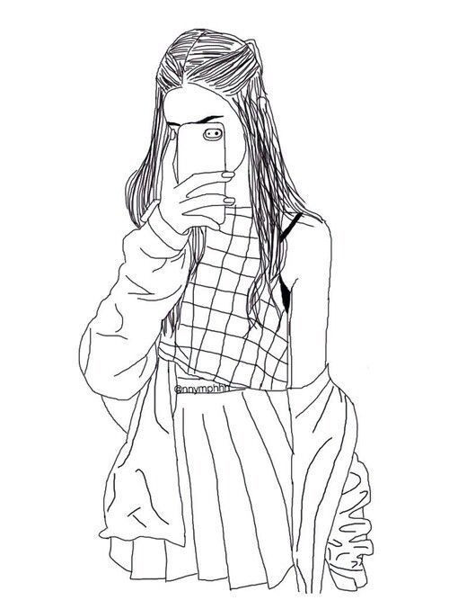 Starbucks Coloring Sheets For Girls  Hipster Girl Drawing Outline