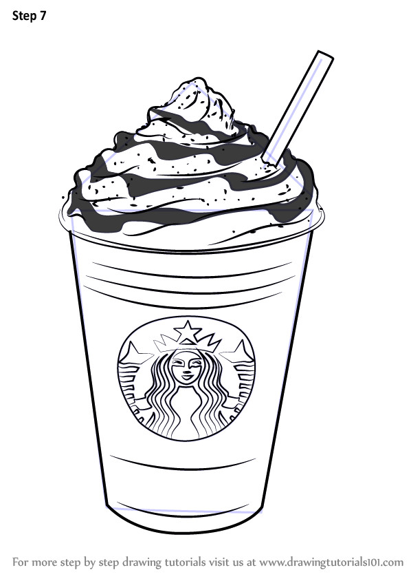 Starbucks Coloring Sheets For Girls  Step by Step How to Draw Frappuccino DrawingTutorials101