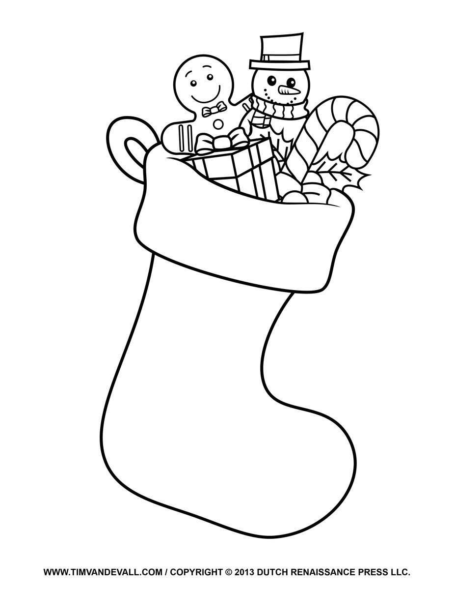 Stocking Printable Coloring Pages  Printable Christmas Stocking Clipart Clipart Suggest