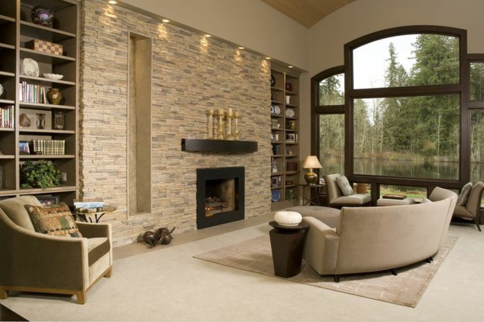 Best ideas about Stone Accent Wall . Save or Pin The Ambience Effect Living Room – 43 Samples Stone Wall Now.