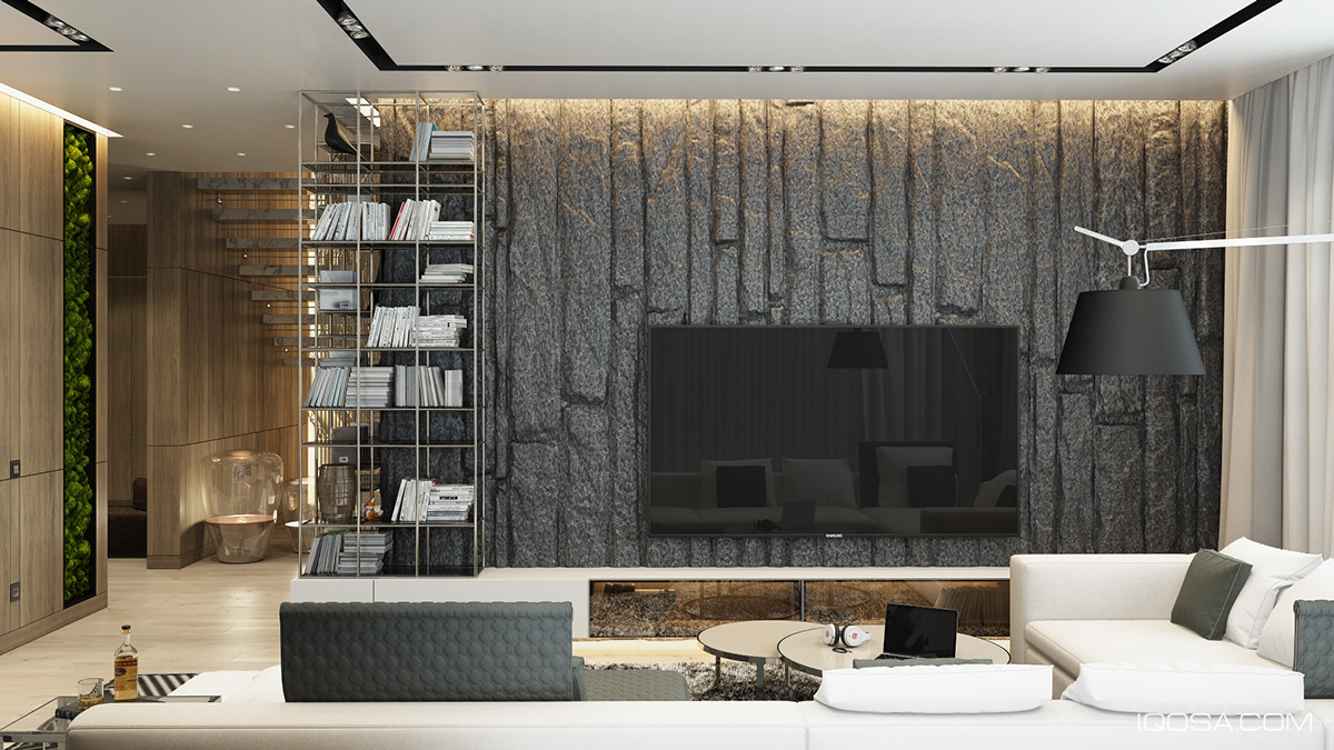Best ideas about Stone Accent Wall . Save or Pin A Moscow House Uses Texture to Create Interest Now.