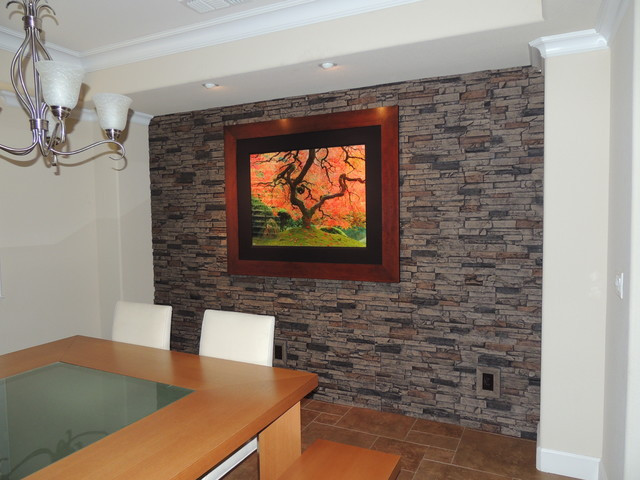 Best ideas about Stone Accent Wall . Save or Pin Faux Stone Accent Walls Contemporary Dining Room New Now.