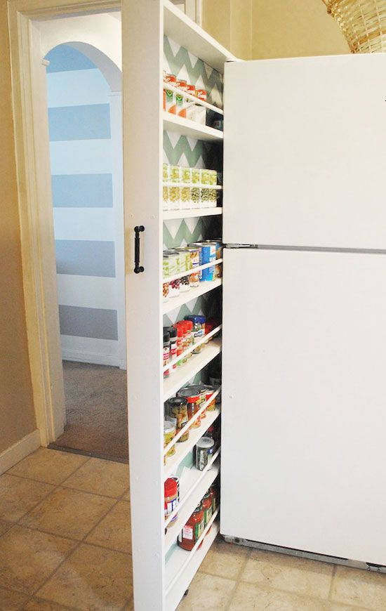 Best ideas about Storage Ideas For Small Spaces On A Budget . Save or Pin Slider Storage Next to Fridge Now.
