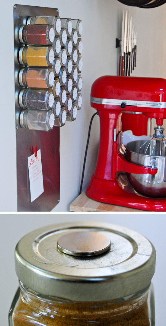 Best ideas about Storage Ideas For Small Spaces On A Budget . Save or Pin Make a Magnetic Spice Rack Now.