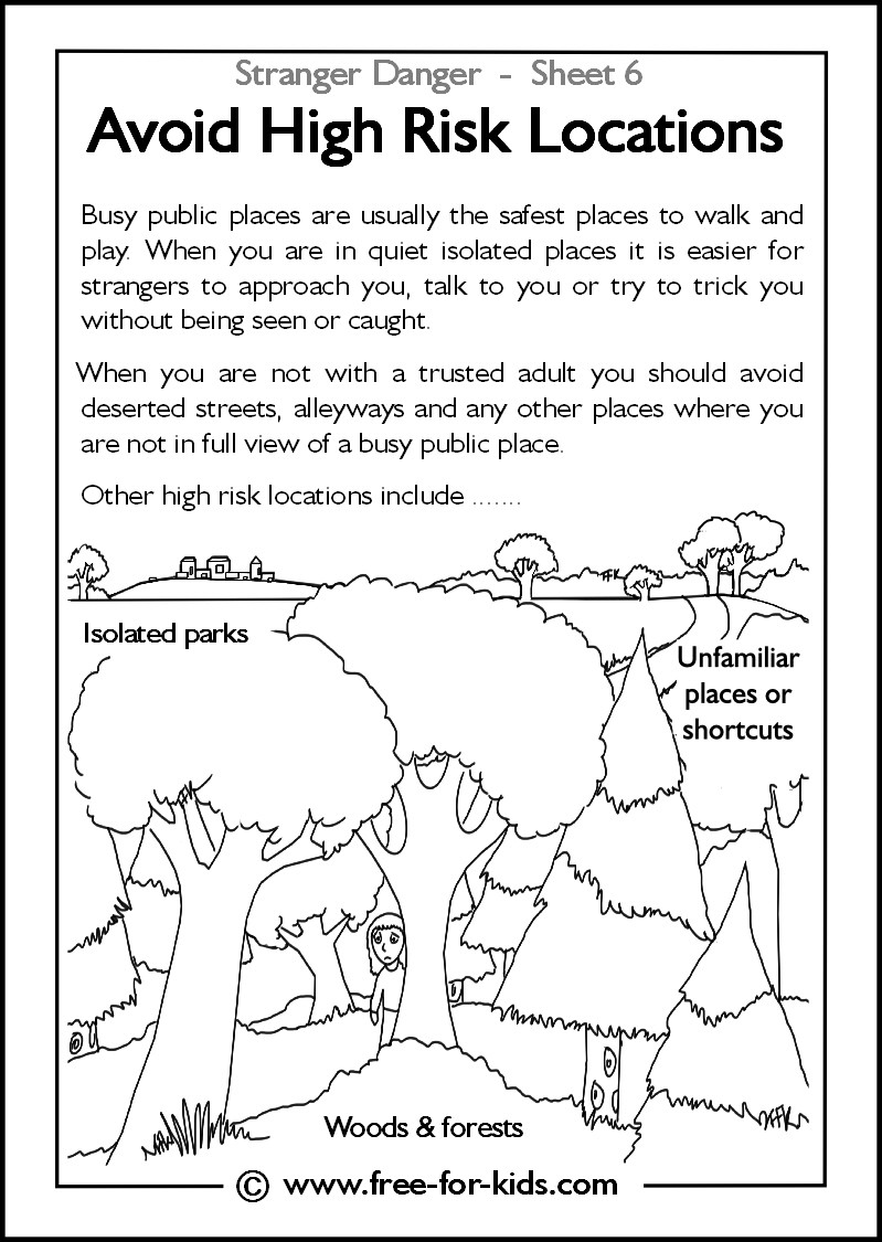 Best ideas about Stranger Danger Printable Coloring Pages . Save or Pin Avoid high risk locations activity sheets for children Now.