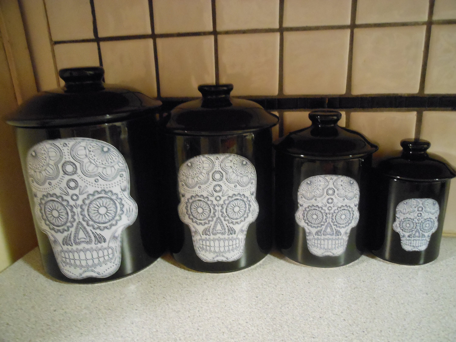 Best ideas about Sugar Skull Kitchen Decor . Save or Pin Sugar Skull Canister Set Now.