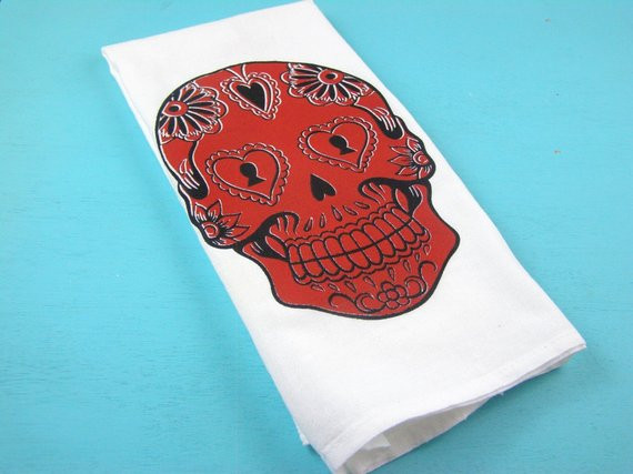 Best ideas about Sugar Skull Kitchen Decor . Save or Pin Items similar to Sugar skull towel kitchen skulls tea Now.