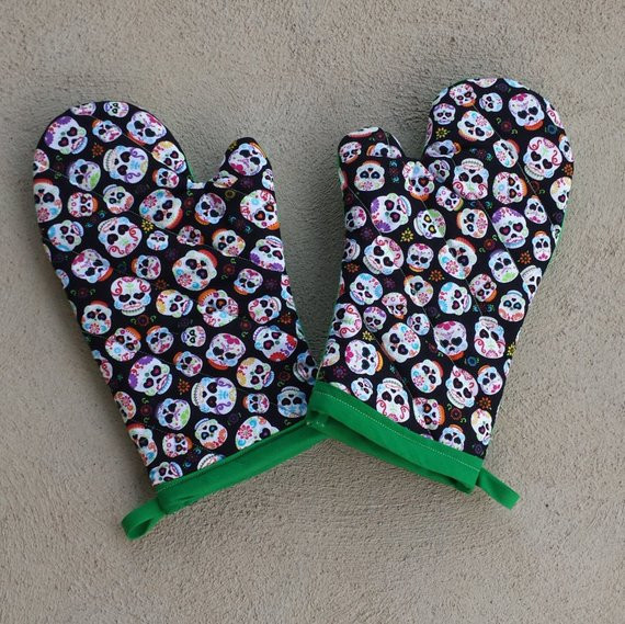 Best ideas about Sugar Skull Kitchen Decor . Save or Pin Sugar Skull Oven Mitts and Pot Holders Day of the Dead Now.