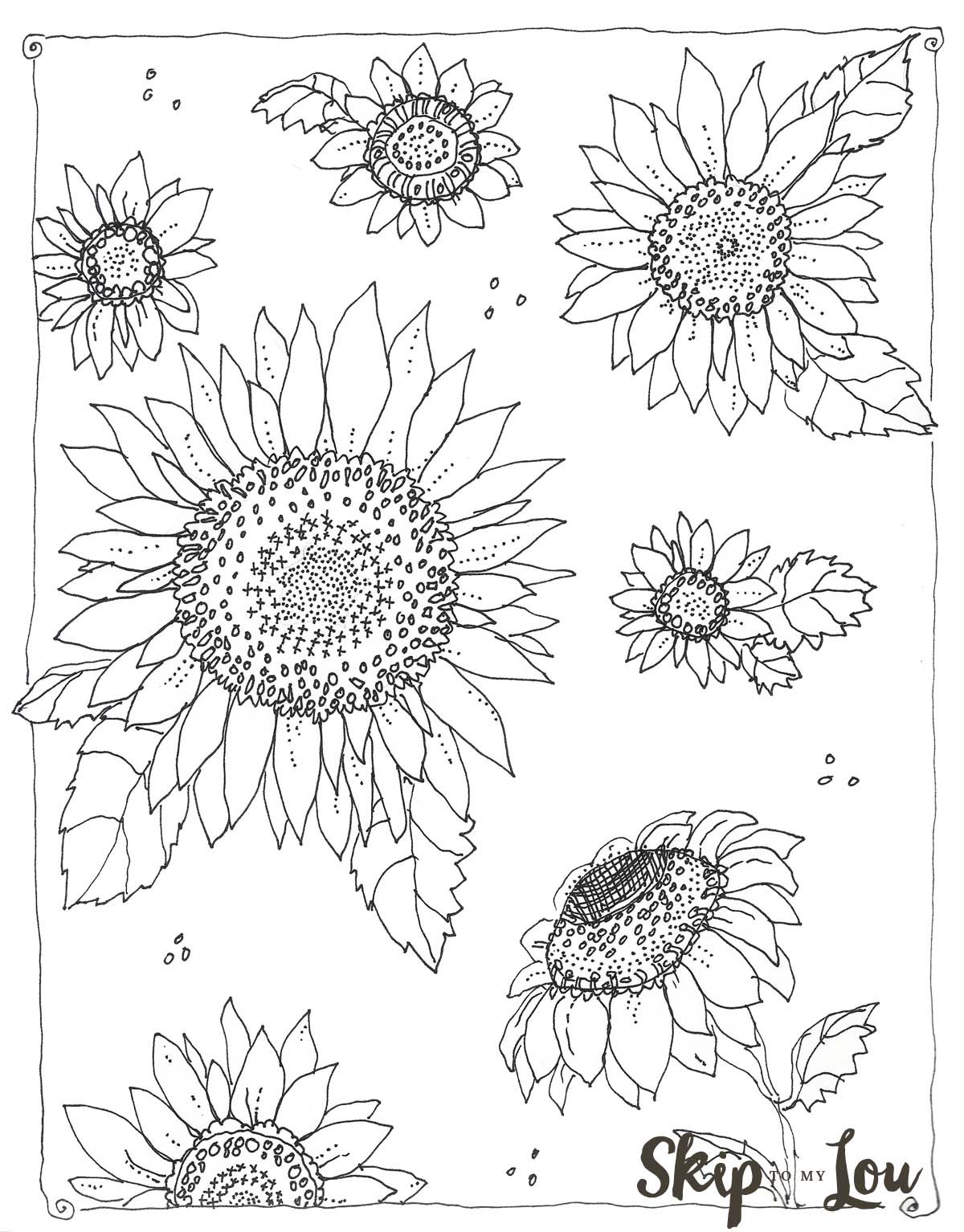 Sunflower Coloring Pages For Adults  Kansas Day Sunflower Coloring Page